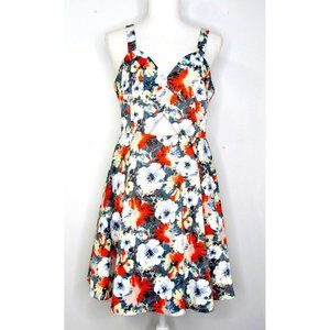 Loveriche Floral Cut-Out Satin Fit Flare Dress